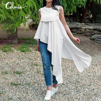 Celmia Plus Size 5XL Blouse Asymmetrical Vintage Women Solid Top Summer Sleeveless Casual Loose Long Shirt Ruffles Split Blusas sweetheart neck plus size asymmetrical top