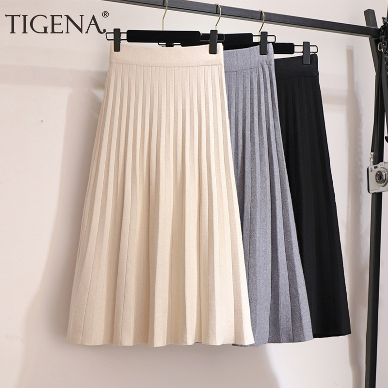 TIGENA Elegant Midi Pleated Knitted Skirt Women 2019 Autumn Winter Korean Knee Length A Line High Waist Skirt Female Ladies