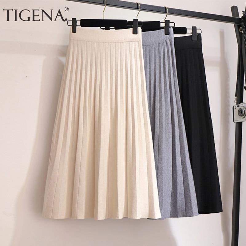 TIGENA Elegant Midi Pleated Knitted Skirt Women 2019 Autumn Winter Korean Knee Length A Line High Waist Skirt Female Ladies