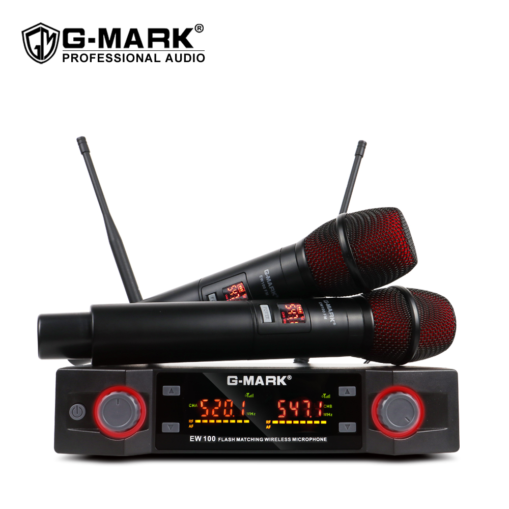 G-MARK EW100 Wireless Microphone UHF Karaoke Microphone Handheld Mic Professional Frequency Adjustable 80M Receive Party Singing