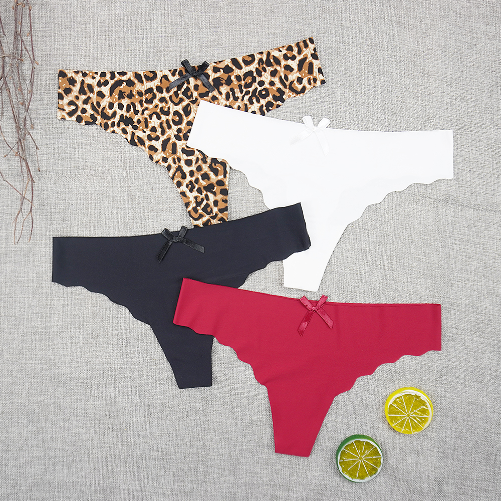 3pcs/lots Seamless Underwear Panties Thong Sexy String Intimate Leopard Print Super Thin Ice Silk Wholesale Low-rise Underpants