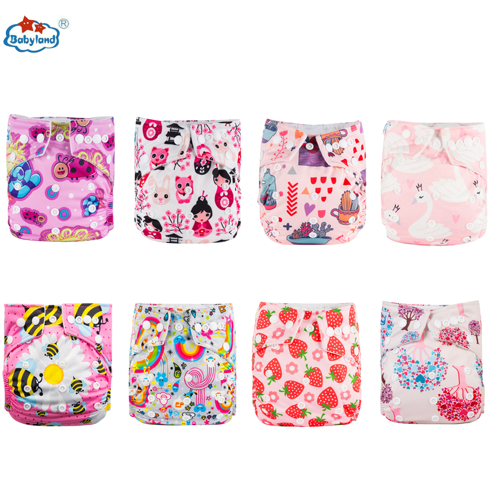 Babyland 2020 ECO-Friendly Baby Cloth Diapers 8pcs/lot Baby Nappy New Prints Reusable Pocket Diaper For Baby 0-2 Years /3-15KG