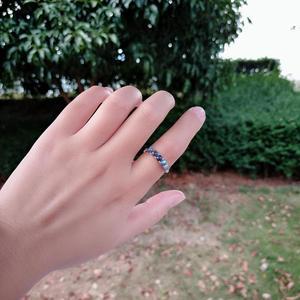Image 5 - 925 סטרלינג כסף אפור קשת טבעת כחול ברדוריט אבן אופנה חצי יקר טבעי חן פתוח נצח טבעת לנשים