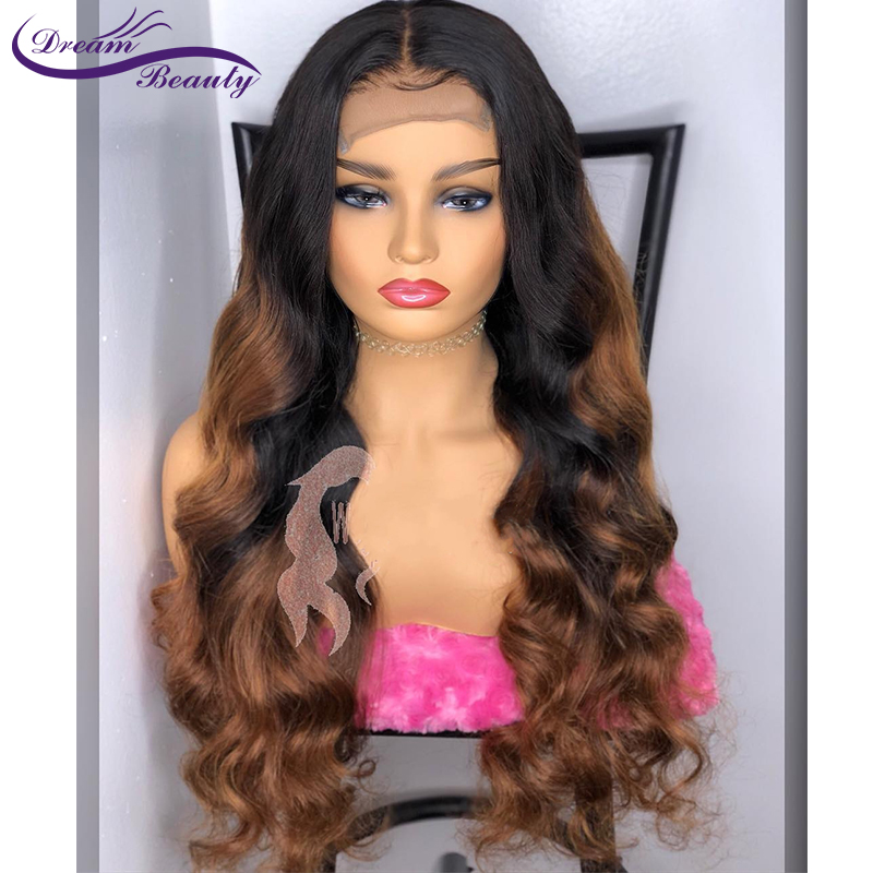 Ombre Glueless Human Hair Lace Front Wigs 180% Density Wavy 13x4 Brazilian Remy Hair Ombre Color With Dark Roots Dream Beauty