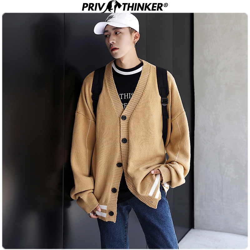 Privathinker 2019 Men Cardigan Loose Knitted Sweaters Men's V-Neck Korean Sweater Male Autumn Winter Single Breasted Clothes