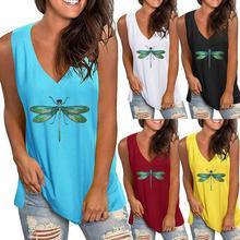 Summer Womens Printed Loose V-neck Sleeveless T-shirt Top