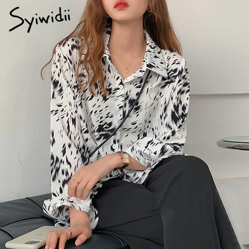 Syiwidii camicie da donna stampa bianco nero abbottonatura moda coreana top da donna colletto rovesciato manica lunga 2021 nuova camicetta di Chiffon