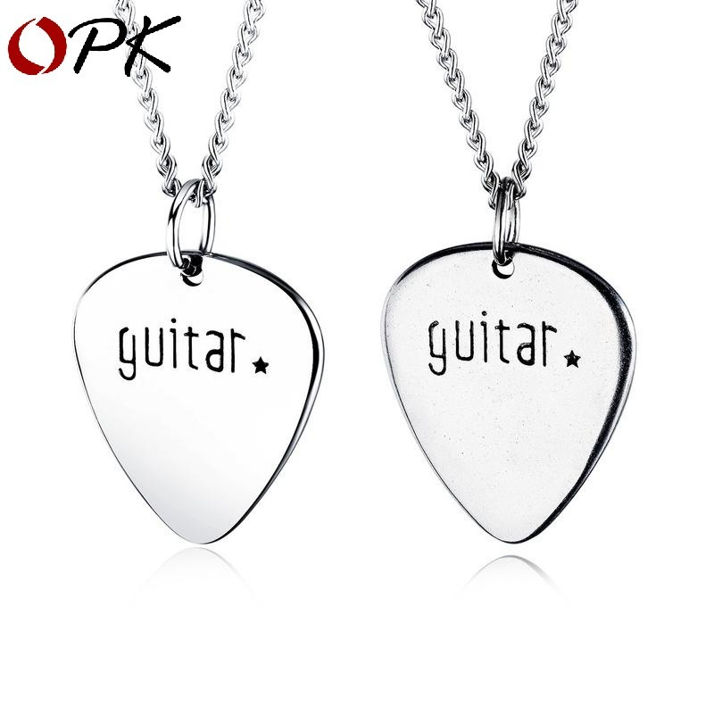 <font><b>guitar</b></font> picks music <font><b>titanium</b></font> <font><b>steel</b></font> <font><b>necklace</b></font> rock hip hop pendant <font><b>unisex</b></font> <font><b>titanium</b></font> <font><b>steel</b></font> jewelry image