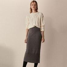 MD – jupe droite en tricot pour femme, pull épais, taille haute, couleur unie, Vintage, élégant, pour le bureau, collection automne hiver