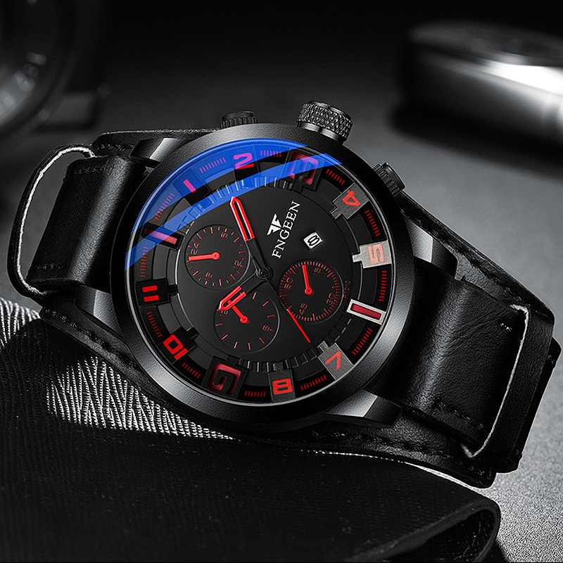 2019 Top Brand Luxury Mens Watches Male Clock Date Sport Military Hour Leather Strap Quartz Business Watches Relogio Masculino