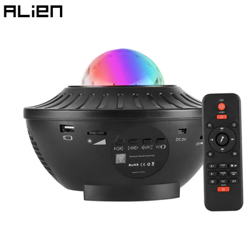 ALIEN Colorful Starry Sky Projector Bluetooth USB Music Player LED Night Light Romantic Holiday Party Lamp Kids Birthday Gift