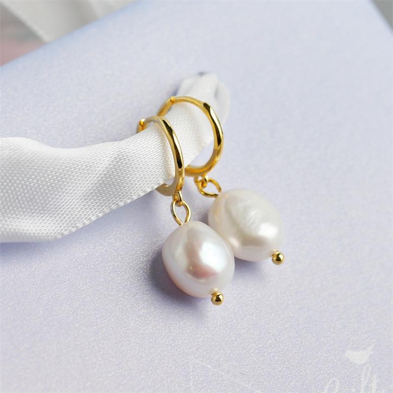 WANTME naturel eau douce irrégulière Baroque perle pendentif boucles d'oreilles pour les femmes réel 925 en argent Sterling fête bijoux de mariage 4