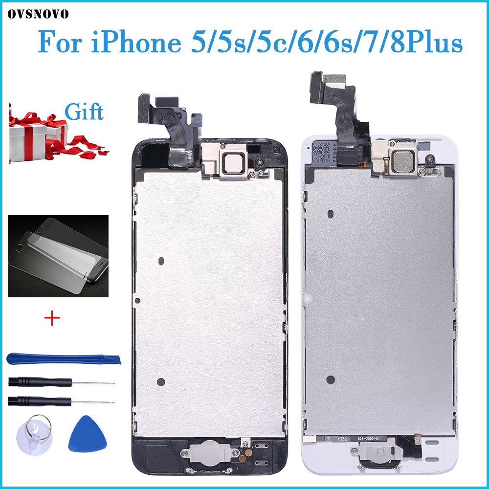 Full Assembly LCD Display for iPhone 5s 6s se 6 Touch Screen Digitizer Replacement with Home Button Front Camera Complete LCD 5C(China)