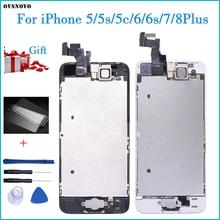 LCDจอแสดงผลสำหรับiPhone 5S 6S Se 6 Touch Screen Digitizerเปลี่ยนปุ่มด้านหน้ากล้องLCDที่สมบูรณ์แบบ5C