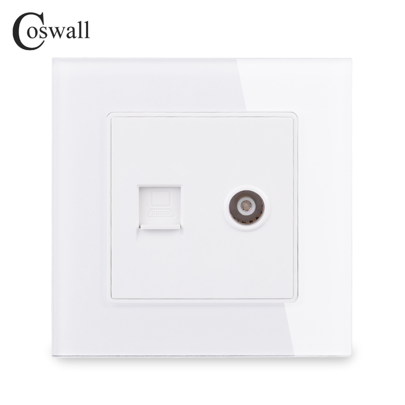 COSWALL Crystal Tempered Glass Panel Wall Socket Female TV Connector With CAT5E RJ45 Internet Computer Data Jack C1 Series