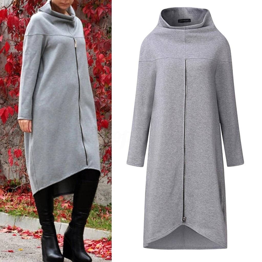 Women Long Shirt Dress Evening Party High Low Asym Split Sweatshirt Dress Winter Warm Thickening Plus Size Zipper Pullover #LR2