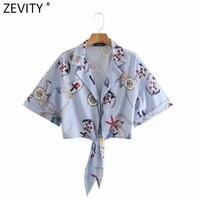Zevity verano Mujer imprimir dobladillo anudado azul corto blusa damas de manga corta Kimono Chic de Camisas Blusas Femininas Tops LS9124