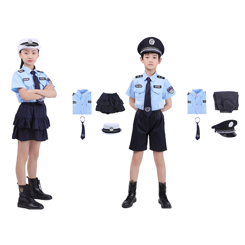 Children Army Suit Student Boys Girls Police Cop Officer Cosplay Costumes For Halloween Carnival Party Luxury Birthday Gift