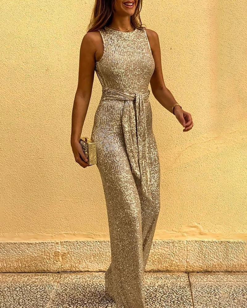Women Glitter Round Neck Streetwear Jumpsuits With Belt Slim Fit Sleeveless Backless Sequins Jumpsuit