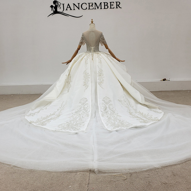 HTL1771 Beautiful Ball-Gown Beaded Luxury O-Neck Wedding Dress 2020 Backless Applique Lace Up Back 2