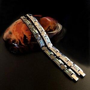 Image 5 - Good For Health Magnetic Bracelet Men Luxury Natural Shell Never Scratch Black Tungsten Steel Bracelets For Women Cross Jewelry