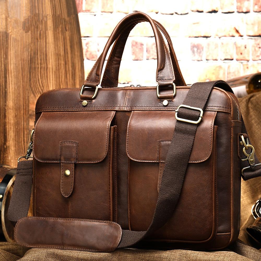 Scione Men Genuine Leather Vintage Briefcase Messenger Bags 15inch Laptop Large Capacity Shoulder Bag Business Office Handbag