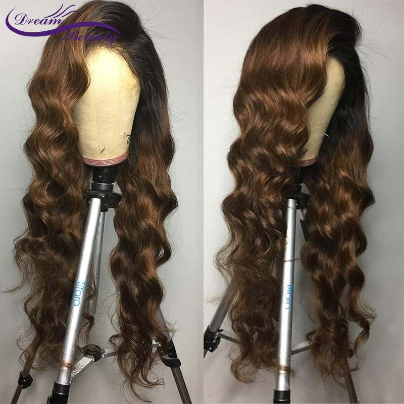 H3560a916bc8f407e8dd000679936c017e Ombre Brown Wig Brazilian Remy Human Hair Wigs Pre Plucked Natural Hairline Wavy 13x4 Lace Front Wigs Baby Hair Dream Beauty