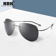 HBK 2019 Ultralight Pilot Titanium Polarized Photochromic Sunglasses Rimless Driving Sun shades Men Oculos De Sol UV400