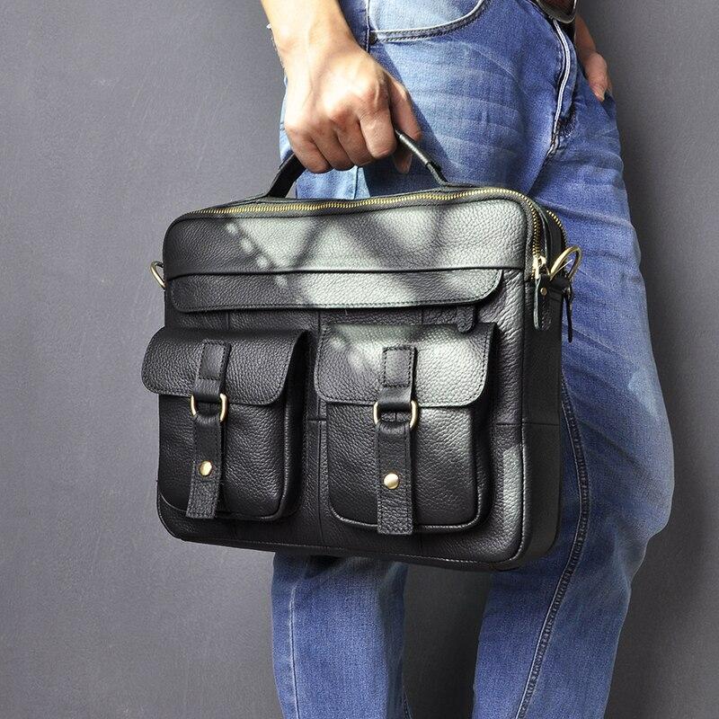"Men Genuine Leather Cowhide Vintage Briefcase Attache 13/"" Laptop Portfolio Bag"