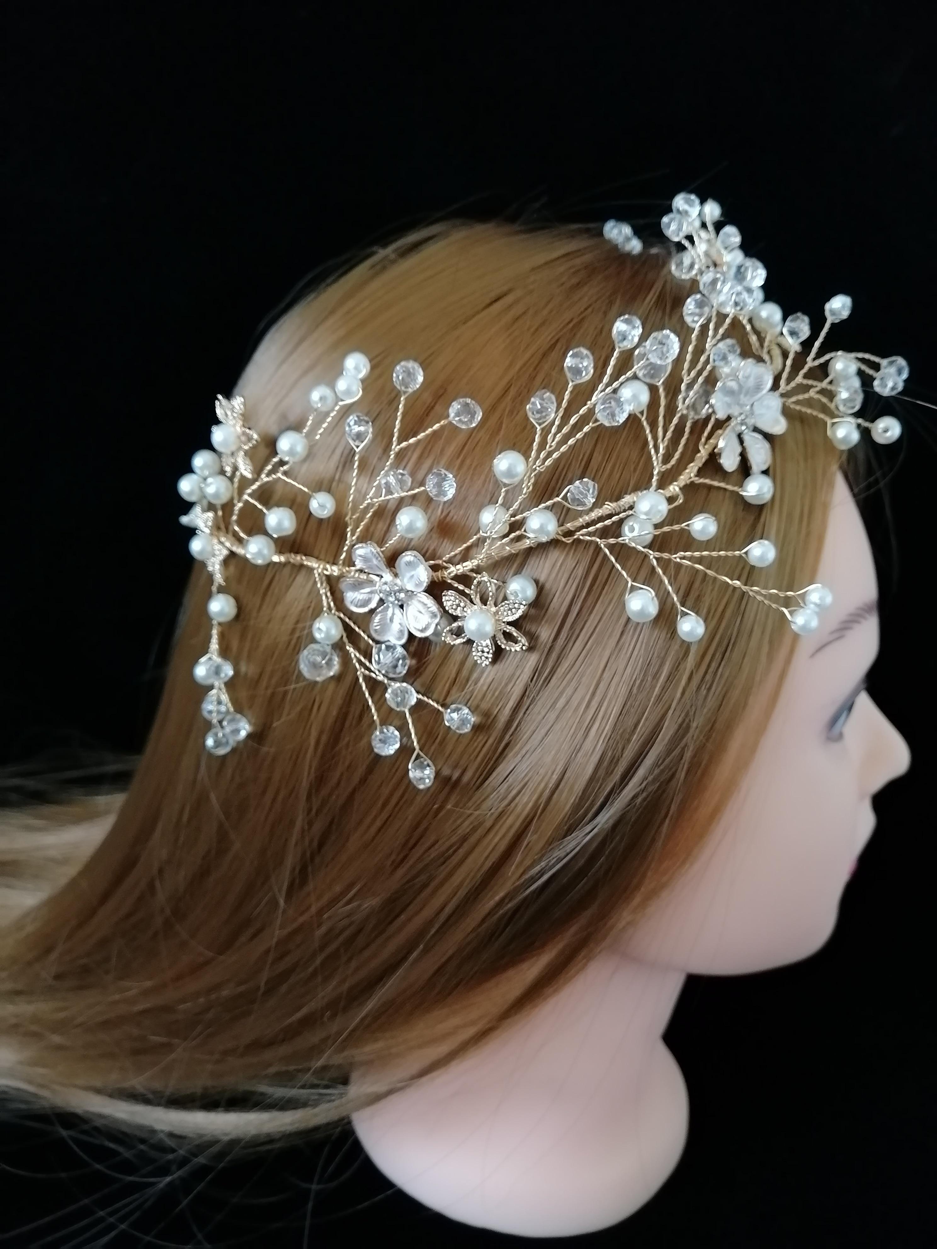 Gold Metal Korean Luxury Wedding Tiaras,Superior Beads Crystal Bridal Comb  Headbands Wreath Bridesmaid Headdress Accessories