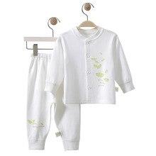 Шифоновые штаны из чистого хлопка для новорожденных детей в возрасте от От 0 до 1 года, кардиган с длинными рукавами, комплект нижнего белья для новорожденных