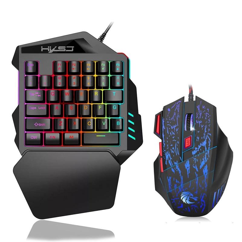 Купить usb проводная игровая клавиатура для одной руки 35 клавиш rgb