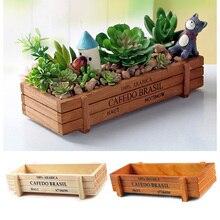 Planta de jardín caliente maceta de jardín de madera Vintage maceta suculenta maceta rectangular caja de planta cama de madera maciza caja de recepción