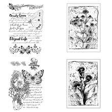 Azsg винтажные прозрачные штампы с текстом бабочки/печать для