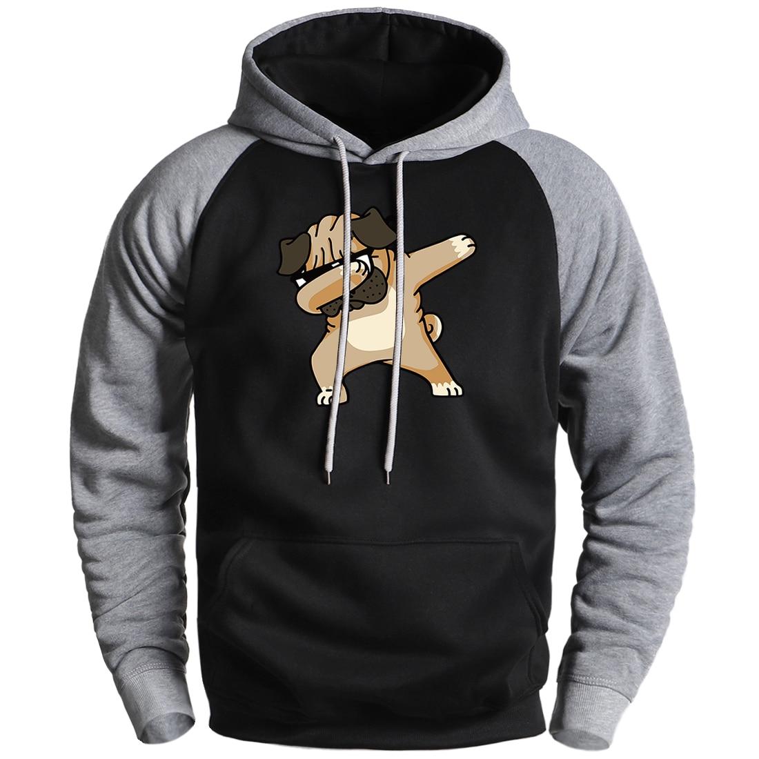 Funny Dabbing Pug Hoodies Mens Casual Hooded Raglan Sweatshirts 2020 Winter Fleece Pullover Japan Cartoon Hoodies Sweatshirts