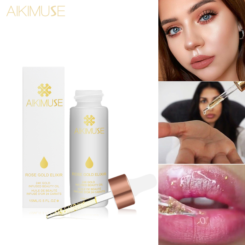 KIMUSE ROSE GOLD ELIXIR  Essential Oil Makeup Primer Lips Face Base Make Up Vitamin Moisturizer Easy To Absorb Face Care