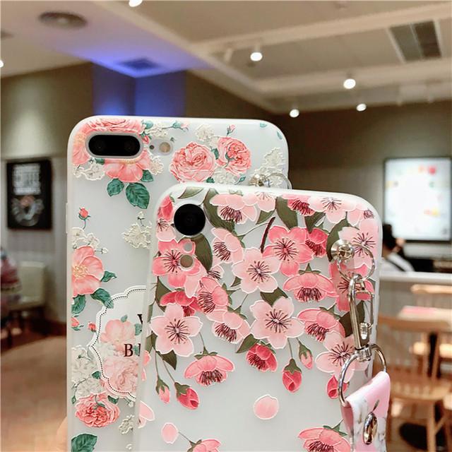 Cherry Blossoms Flower Shoulder Strap Transparent Case Cover For iphone 11 pro max 7 8 6 6s plus XS MAX XR X
