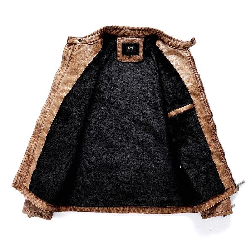 Hot Selling MEN'S Leather Coat-Style Fashion MEN'S Leather Jacket Autumn And Winter Plus Velvet Washing MEN'S Coat