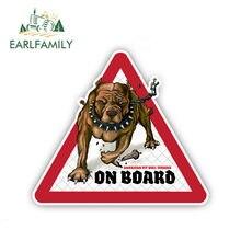 EARLFAMILY 12cm x 10.5cm Pit Bull Dog adesivi per auto cane a bordo decalcomanie Pet Dog Decal Dog segnale di avvertimento adesivi divertenti