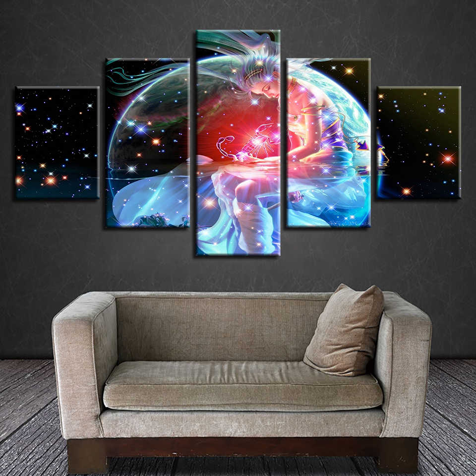Framework Artworks Print Decor Bedroom Wall Painting 5 Pieces Scorpio Zodiac Astrological Sign Art Canvas Picture Modular Poster