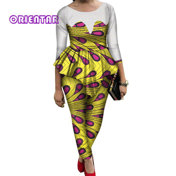 2 Pieces Sets Women African Pants Sets African Wax Print Long Sleeve Lace Tops and Pants Women Bazin Riche African Suits WY689