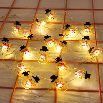 цена на FENGRISE Snowflakes Snowman LED String Fairy Lights Garland Christmas Decorations for Home Battery Powered Holiday Lighting