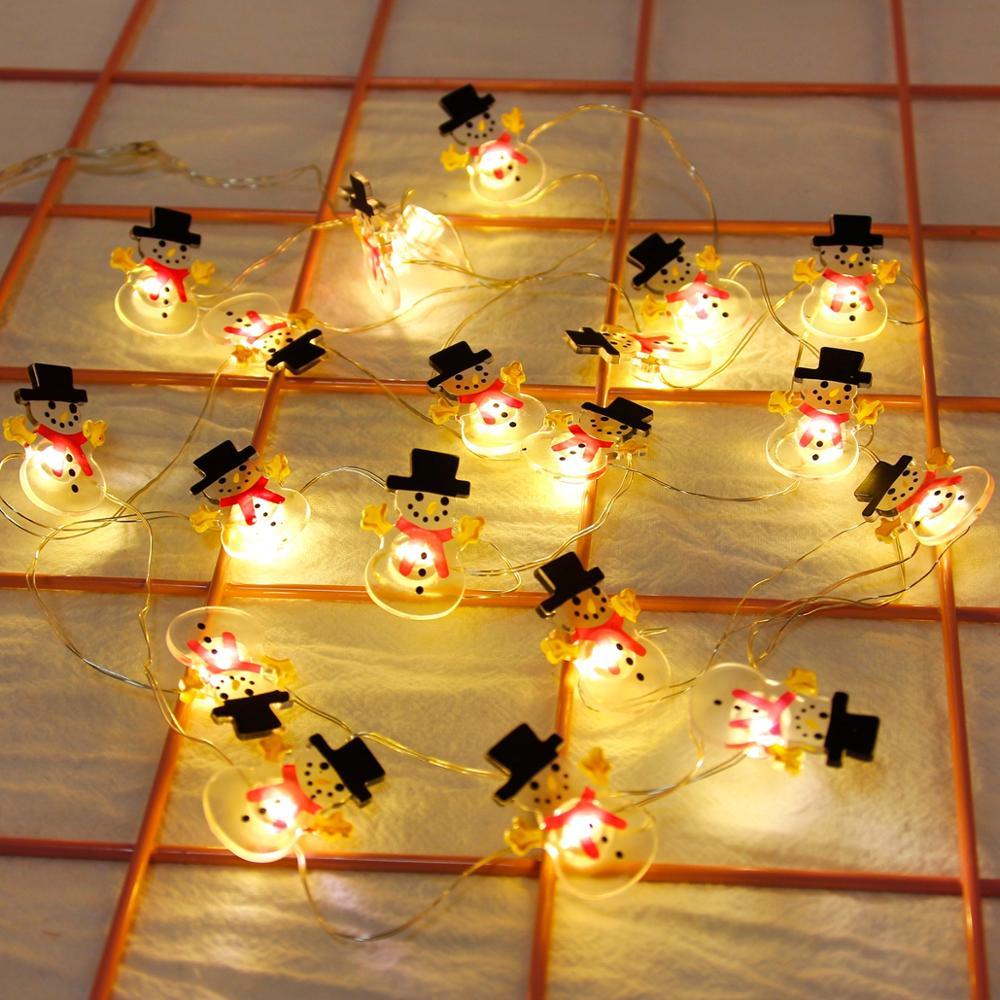 FENGRISE Снежинки Снеговик светодиодный гирлянда сказочные огни гирлянда Рождественские украшения для дома Питание от батареи праздничное освещение|Светодиодная лента|   | АлиЭкспресс
