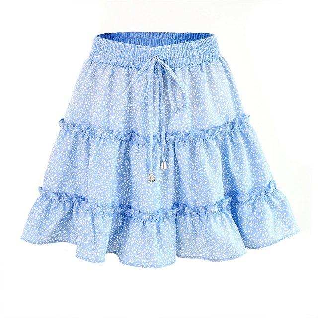 Jocoo Jolee Sexy High Waist Ruffles Skirt for Women Floral Print Beach A Line Skirt Cotton Beach Short Pleated Skirt Plus Size 6