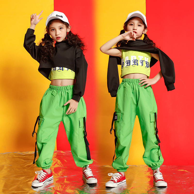 Kids Hip Hop Clothing Sweatshirt Top Crop Running Casual Pants For Girls Childs Jazz Dance Costume Wear Ballroom Dancing Clothes