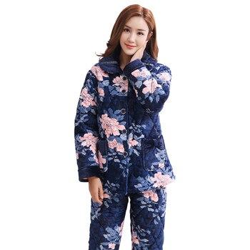 Pijamas con estampado Floral para mujer de tres capas de espesor cálido invierno chaqueta acolchada de terciopelo coral para mujer pijama para mujer de invierno