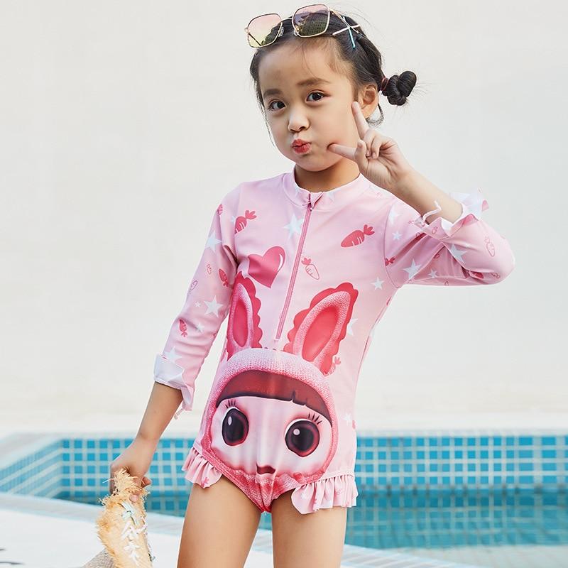 New Style KID'S Swimwear Girls Trend Cute Bunny Zipper One-piece Swimming Suit Baby Children One-piece Swimwear