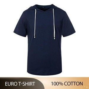 Высокая QualityMen короткий рукав футболка с капюшоном в стиле «хип-хоп» Хлопок Уличная футболка Футболки Топы Homme ЕС Размеры S-2XL