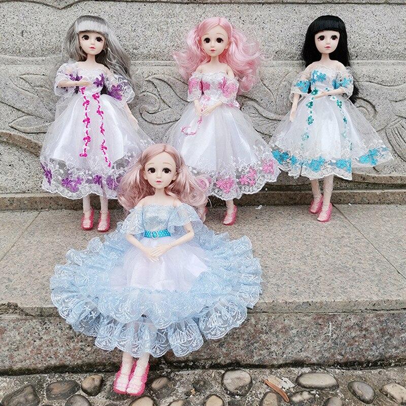 BJD 36CM Puppe 22 Bewegliche Gelenk Prinzessin Bestickt Rock Zubehör Kleidung Spitze Kleid 4D Augen Mädchen Mode Kleid Bis geschenk Spielzeug