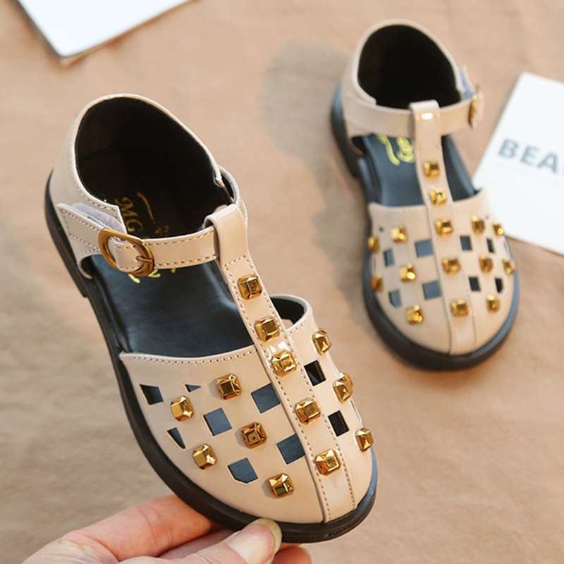 New Kids Leather Wedding Dress Shoes Spring Flat With Casual Fashion Rivets Toddler Baby Children Hook&Loop Shoes For Girls